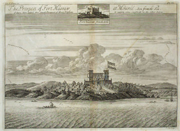 """The Prospect of Fort Nassaw at Mourü, Seen from the Sea"""