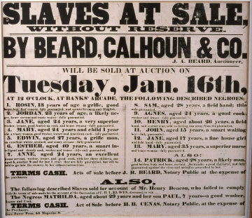 Poster advertising a slave auction