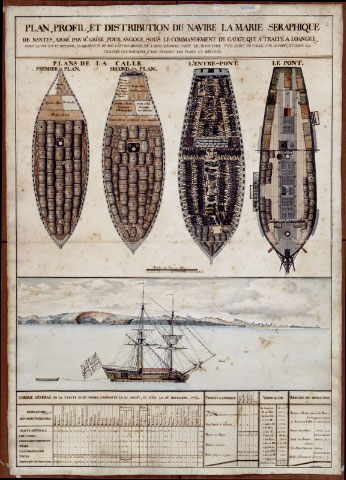Plan, profile, and layout of the ship <i>Marie Séraphique</i> of Nantes