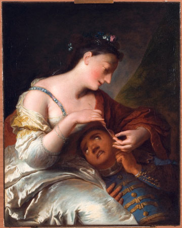 Painting of young lady piercing the ear of her black servant