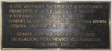 Plaque commemorating capuchin priests at Hermitage Sacred Christ of Potosí