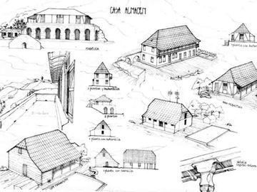 Drawing of warehouse with sun-drying system for coffee in southeastern Cuba