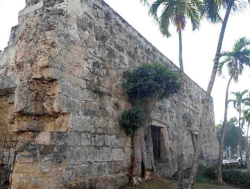 Ruin of the old city wall, in the area of the Arsenal, Havana, Cuba