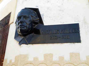 Relief depicting national poet Nicolás Guillén