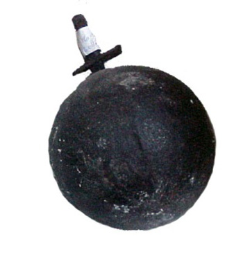 Iron ball, designed to be attached to ankle