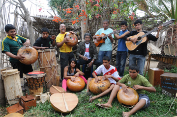 Musical instrument collection and local musicians