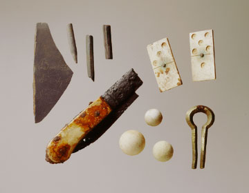 Slate and pencil fragments, dominos