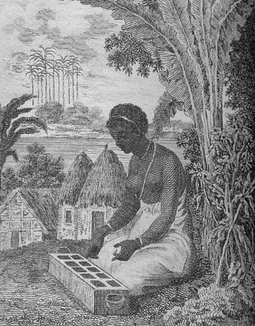 Woman playing Warri/Wari, West Africa