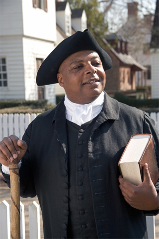 A Colonial Williamsburg actor-interpreter portrays Gowan Pamphlet