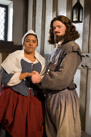 Colonial Williamsburg actors portray an enslaved bi-racial woman, Elizabeth Key, and her husband and attorney, William Greensted